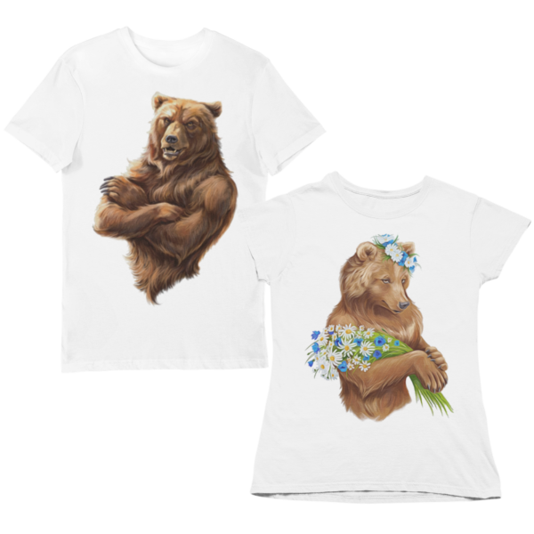 """Парные футболки с принтом """"Медведи"""""""