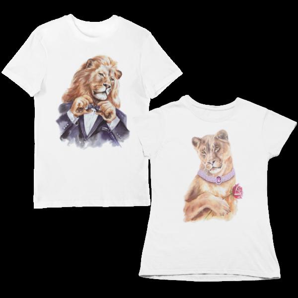 """Парные футболки с принтом """"Львы"""""""