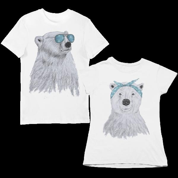 """Парные футболки с принтом """"Мишки"""""""