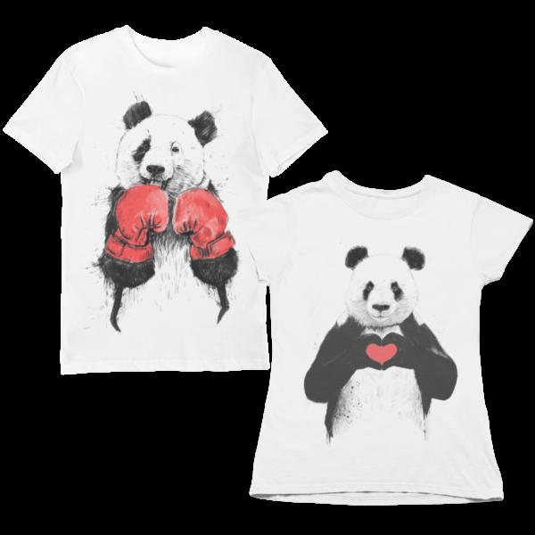 """Парные футболки с принтом """"Панды"""""""
